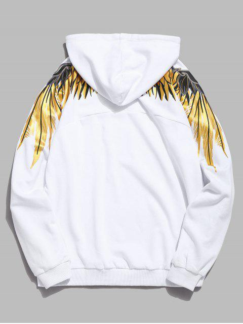 hot Shiny Wings Print Casual Hoodie - WHITE L Mobile