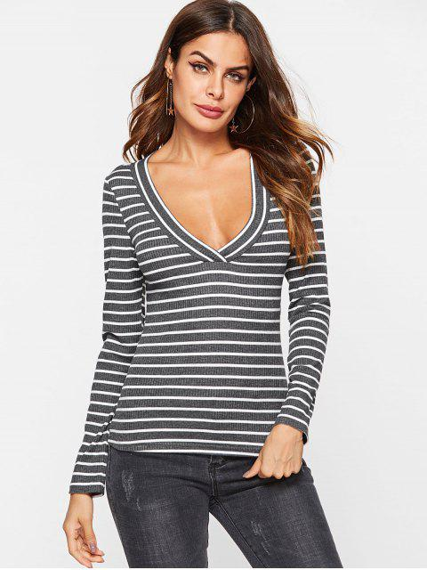 online ZAFUL Striped Long Sleeve Ribbed Tee - GRAY S Mobile
