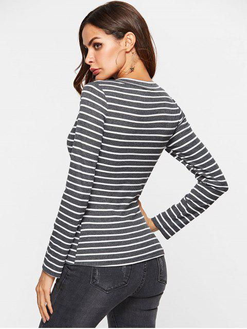 hot ZAFUL Striped Long Sleeve Ribbed Tee - GRAY M Mobile