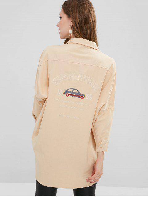 chic Graphic Batwing Longline Shirt - PEACH M Mobile