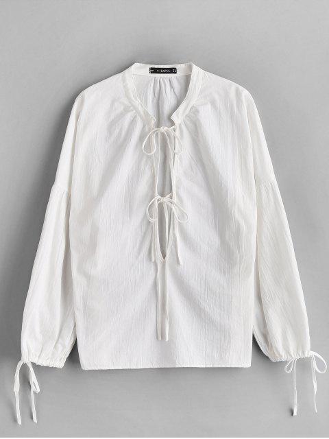 shop ZAFUL Low Cut Tied Collar Blouse - WHITE L Mobile