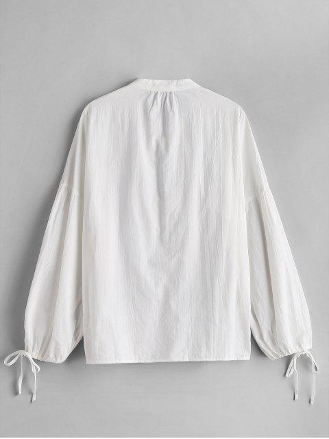 trendy ZAFUL Low Cut Tied Collar Blouse - WHITE M Mobile