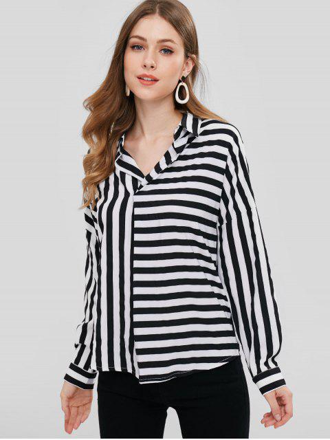 fashion ZAFUL Striped Chiffon Blouse - BLACK L Mobile