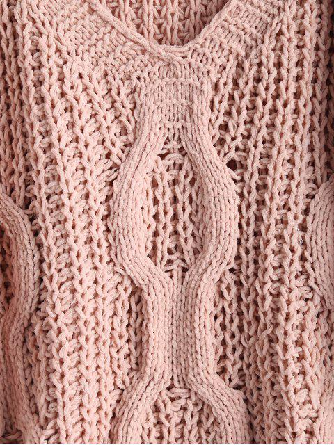 women's Lace-up Openwork Oversized Sweater - PINK BUBBLEGUM ONE SIZE Mobile