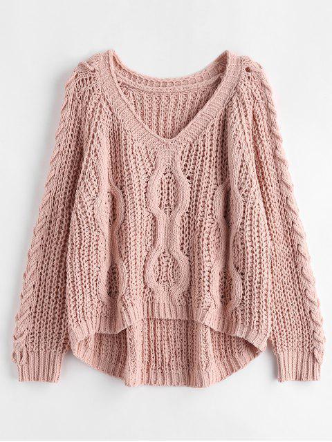 Oversized-Pullover mit Schnürung - Rosa Kaugummi Eine Größe Mobile
