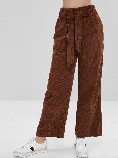trendy ZAFUL Corduroy Wide Leg Pants - BROWN L Mobile