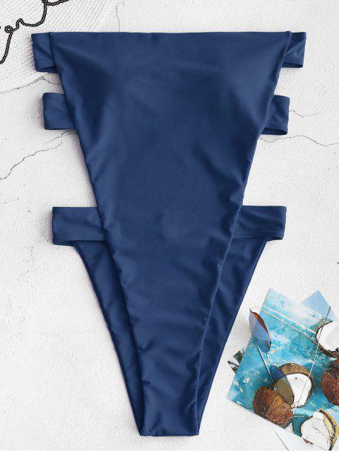 ZAFUL Открытая спина Высокий вырез Бандо Купальник - Синяя сойка  M Mobile