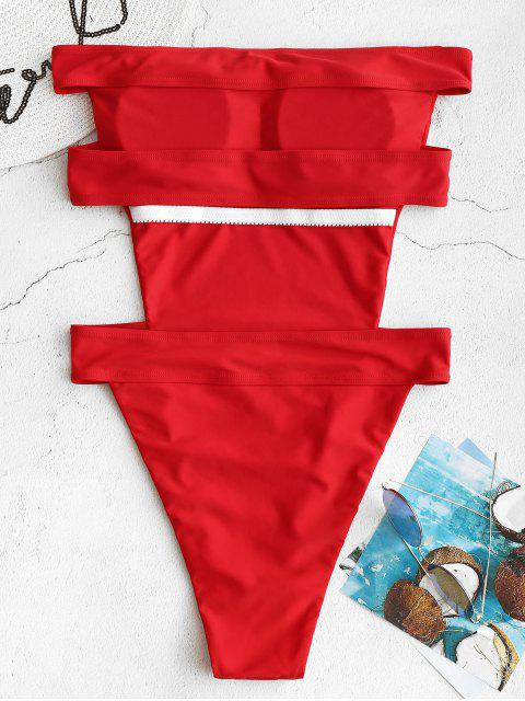 sale ZAFUL Backless High Cut Bandeau Swimsuit - RED S Mobile