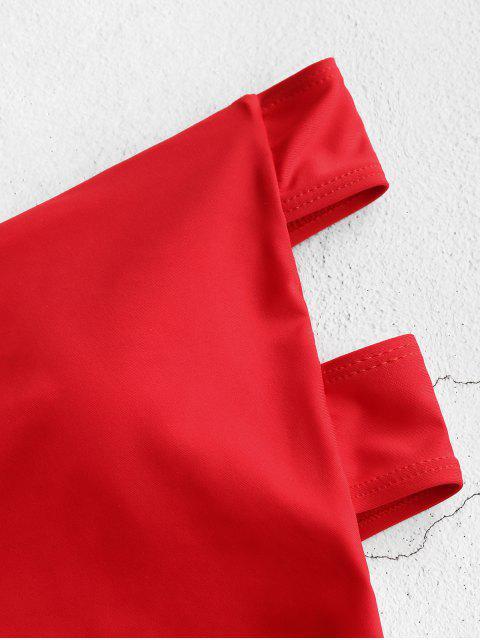 ZAFUL Открытая спина Высокий вырез Бандо Купальник - Красный M Mobile