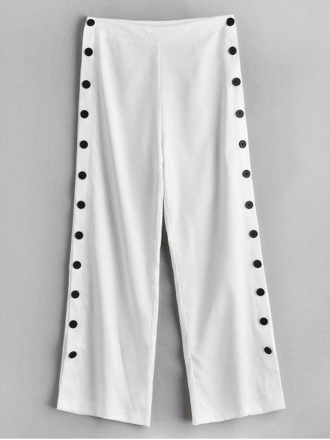 ZAFUL Pantalon à Jambe Large avec Bouton Latéral - Blanc M Mobile