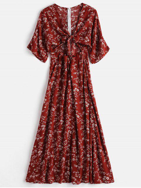 ZAFUL Robe Florale Fendue Nouée en Avant - Châtaigne Rouge S Mobile