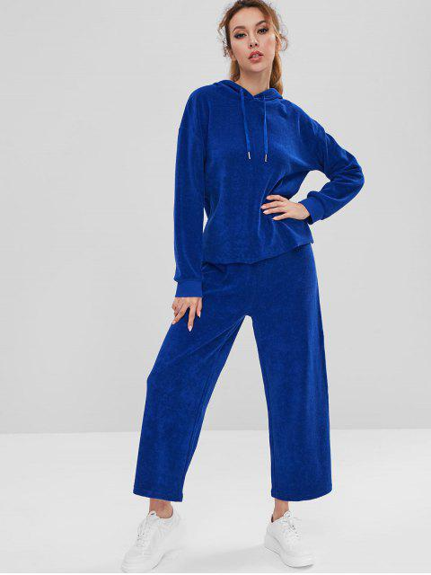 hot ZAFUL Sports Toweling Hoodie and Pants Set - BLUE S Mobile
