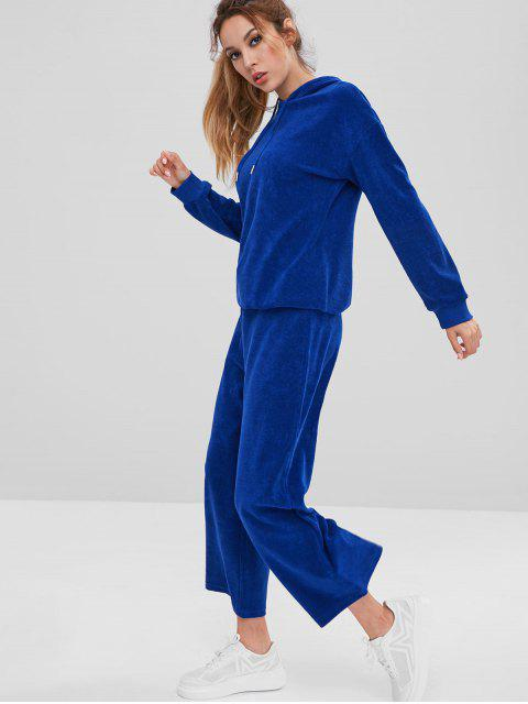ZAFUL Sports Frottee Hoodie und Hosen Set - Blau S Mobile