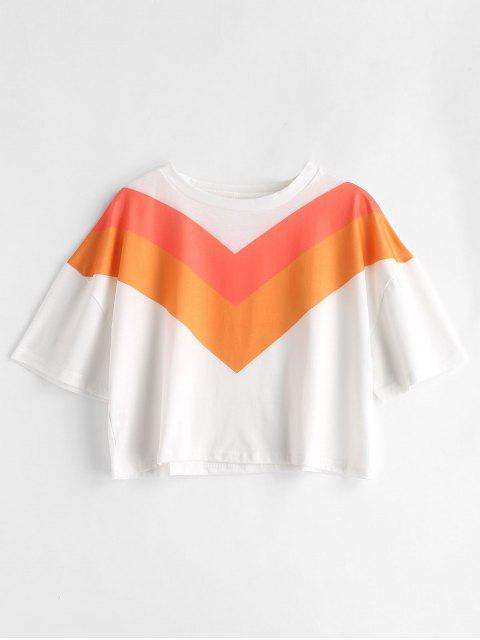 T-shirt Court en Trois Couleurs - Multi XL Mobile