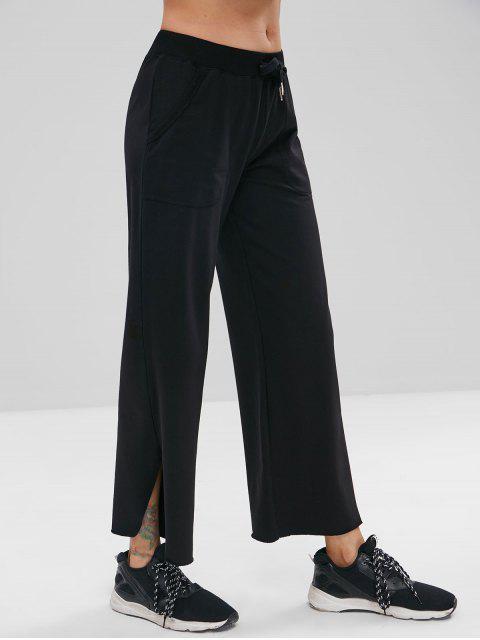 womens ZAFUL Raw Hem Wide Leg Sports Sweatpants - BLACK L Mobile
