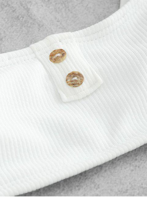 womens ZAFUL Ribbed Button Embellished Bikini Set - WHITE L Mobile