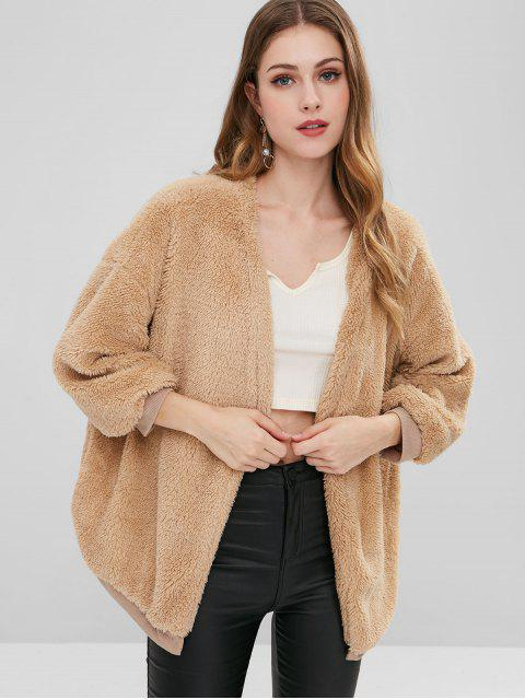 outfit Drop Shoulder Open Front Fluffy Coat - TAN ONE SIZE Mobile