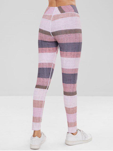 Leotardos de bloque de color de cintura alta - Multicolor L Mobile