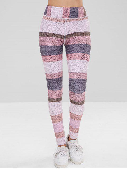 Leotardos de bloque de color de cintura alta - Multicolor M Mobile