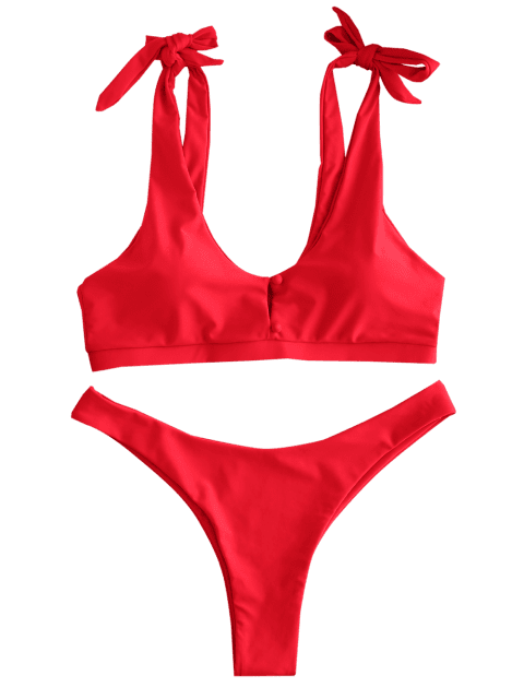 online ZAFUL Tie Shoulder Button High Leg Bikini Set - RED L Mobile