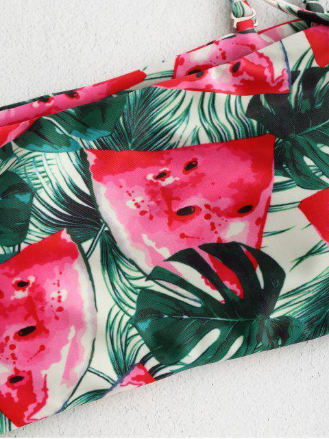 womens ZAFUL Watermelon Leaf Bandeau Bikini Set - MULTI L Mobile