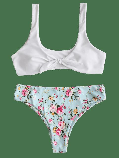 outfit ZAFUL Knot Floral Bikini Set - WHITE S Mobile