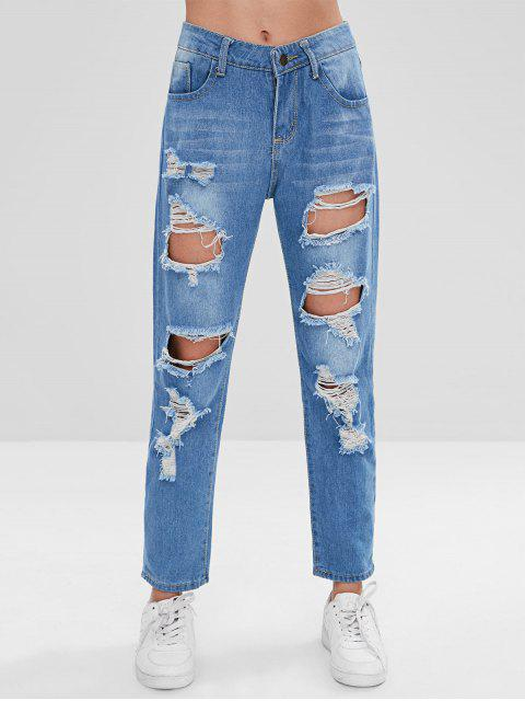 Ripped Boyfriend Jeans - Azul S Mobile
