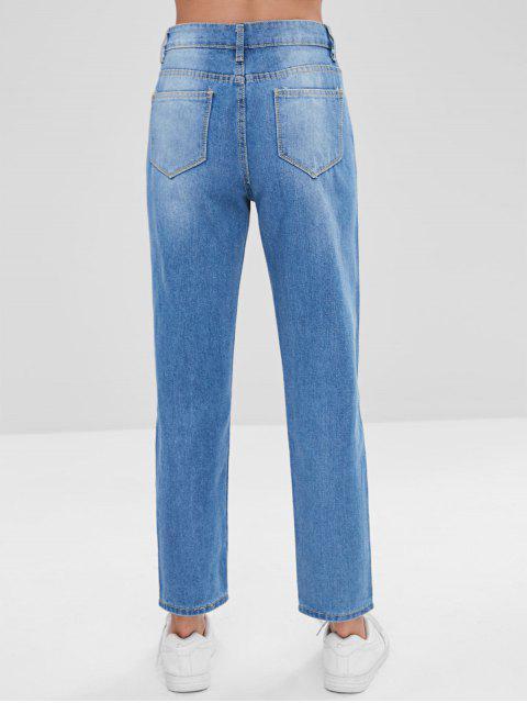 Ripped Boyfriend Jeans - Azul L Mobile