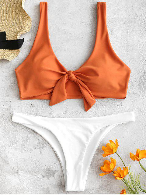 womens ZAFUL Knot Tank Bikini Set - LIGHT BROWN M Mobile