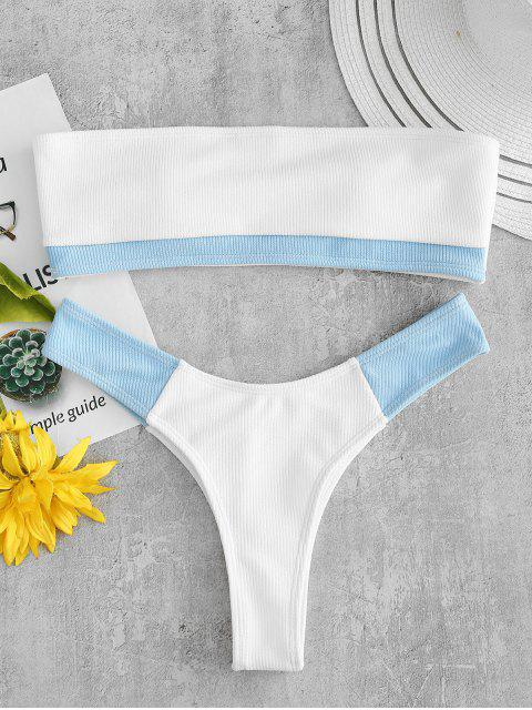ZAFUL Ensemble de Bikini Bandeau Côtelé en Blocs de Couleurs - Blanc L Mobile