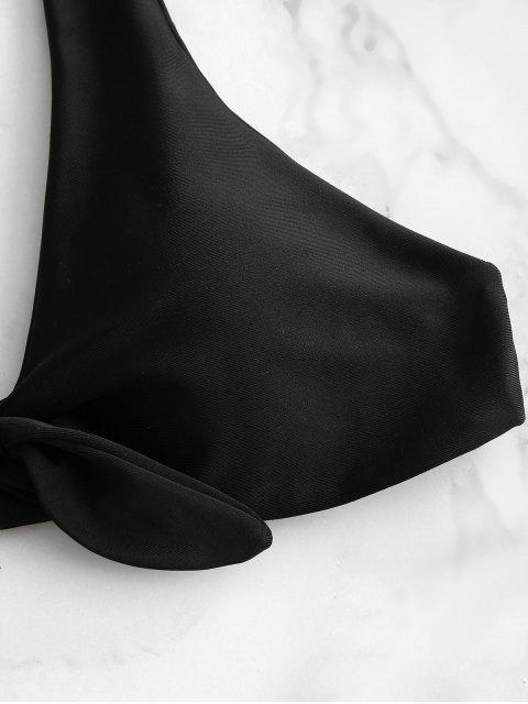 trendy ZAFUL Knotted High Leg Bikini Set - BLACK M Mobile