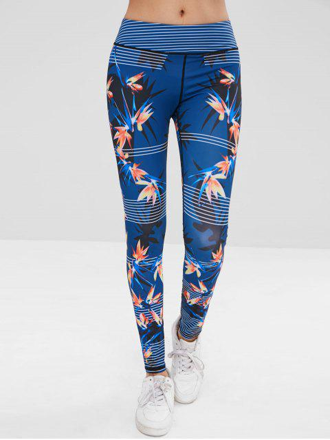 shop Striped Leaf Sports Leggings - EARTH BLUE M Mobile