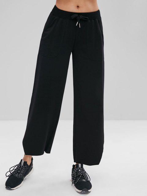 affordable ZAFUL Raw Hem Wide Leg Sports Sweatpants - BLACK S Mobile