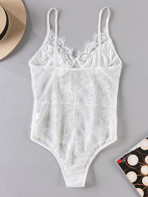 women's Sheer Fishnet Lace Lingerie Teddy Bodysuit - WHITE S Mobile