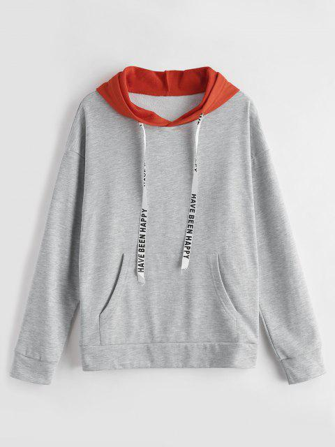 ladies ZAFUL Two Tone Graphic Drawstring Hoodie - GRAY CLOUD ONE SIZE Mobile