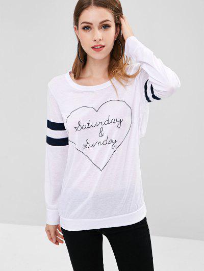 T-shirt Superposé Rayé Graphique Au Dos - Blanc S