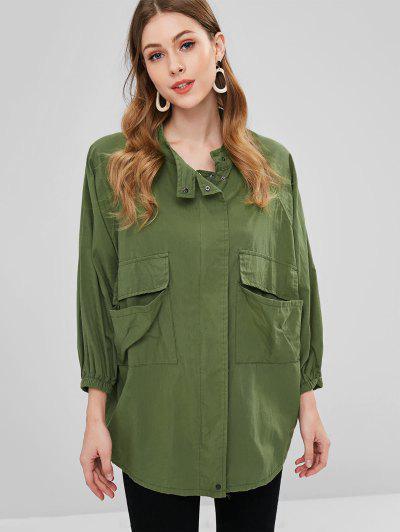 Zip Up Raglan Sleeve Field Coat - Army Green