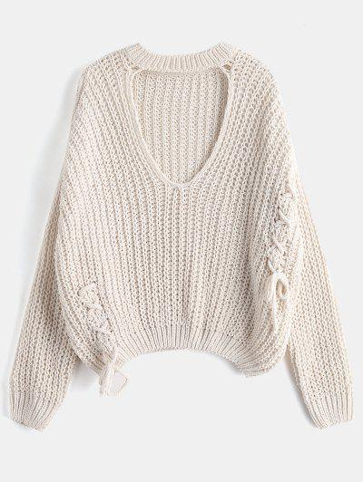 Oversized Lace-up Choker Sweater - Crystal Cream