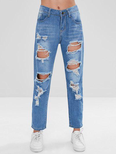 21238e9351c Ripped Boyfriend Jeans - Blue L HOT