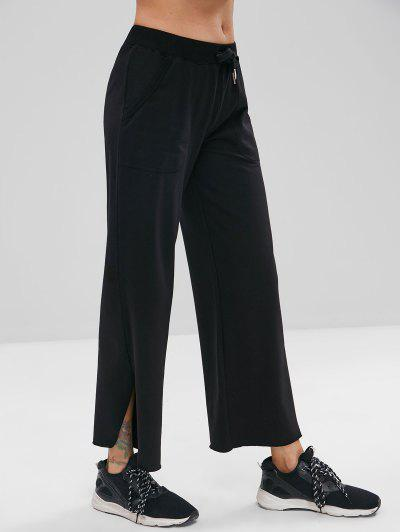 ZAFUL Raw Hem Wide Leg Sports Sweatpants - Black S
