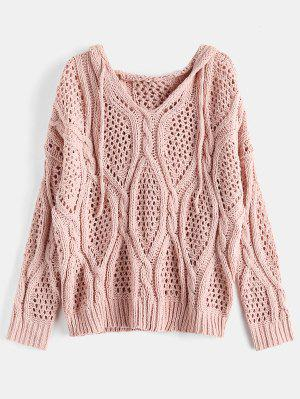 1165946f98 Hooded Open-knit Chunky Sweater - Pink Bubblegum