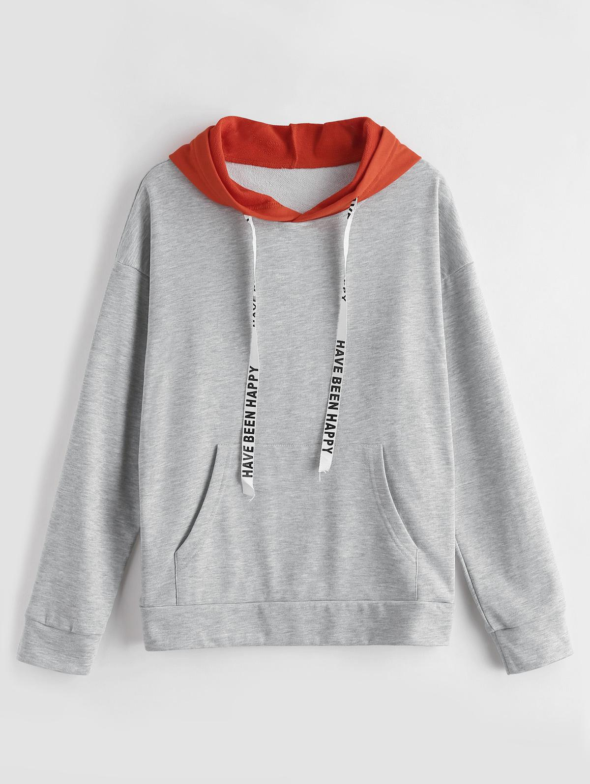 ZAFUL Two Tone Graphic Drawstring Hoodie