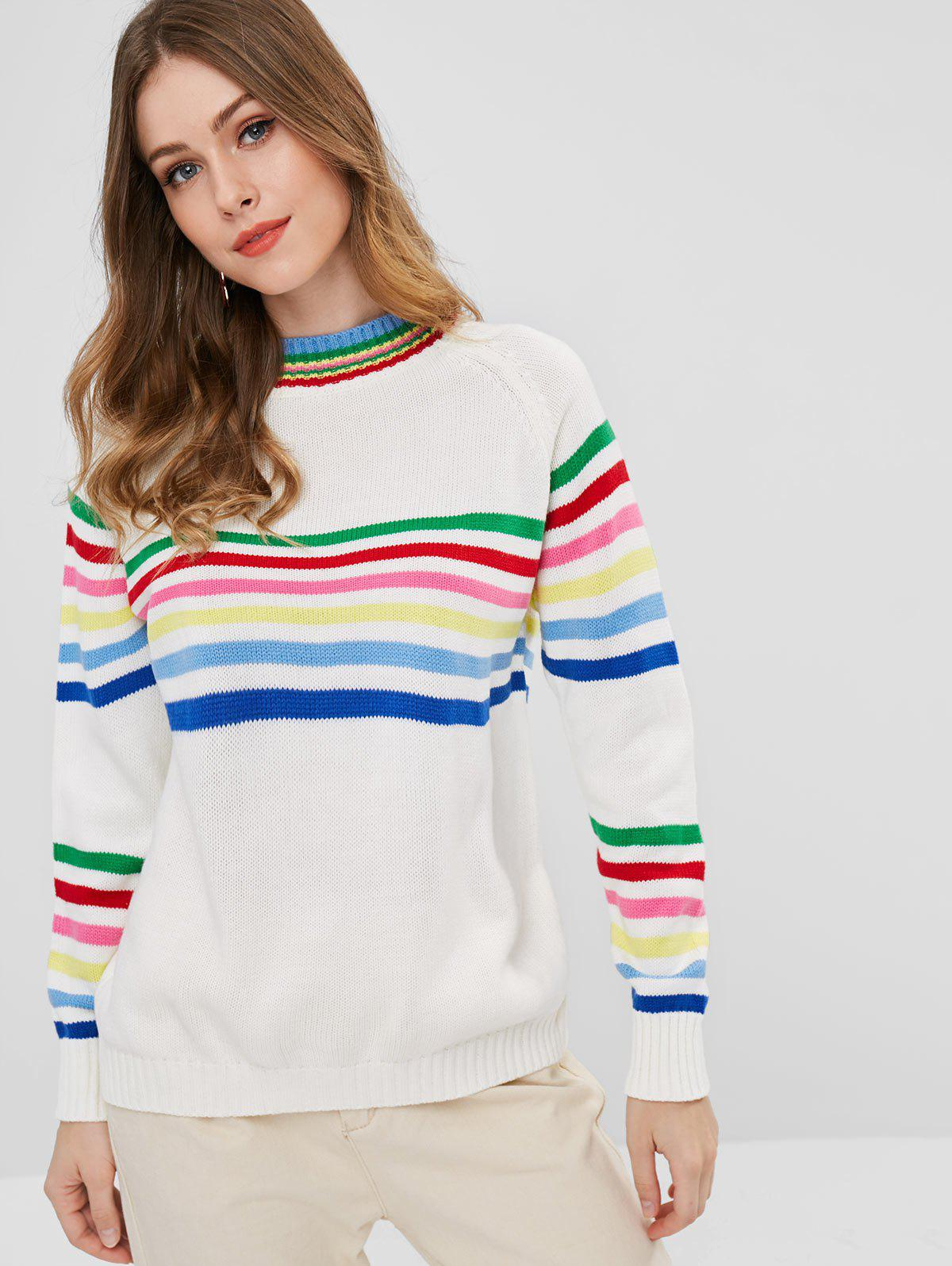 Colorful Striped Raglan Sleeve Sweater