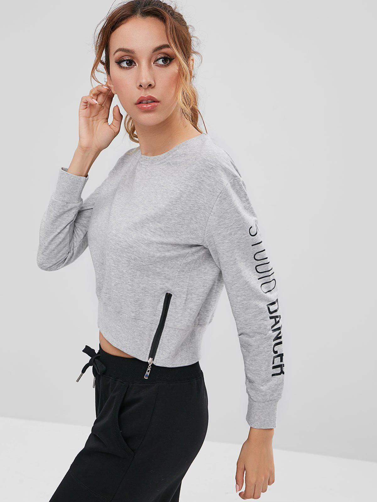 Letter Zipper Crop Sweatshirt, Gray