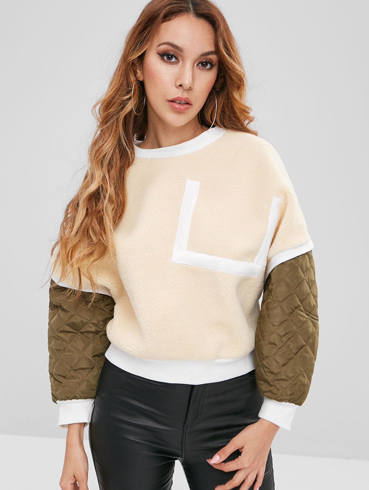 Patchwork Fuzzy Sweatshirt