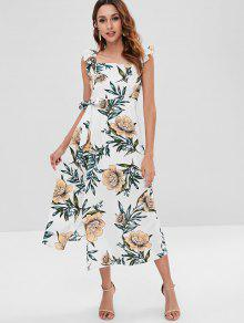 5b200eef27a700 24% OFF] 2019 Square Neck Floral Flowing Dress In WHITE | ZAFUL