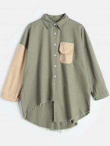 قميص بطول حتى تي شيرت - اخضر غامق