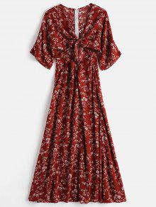 ZAFUL Tie Front Slit Floral Dress - كستنائي أحمر L