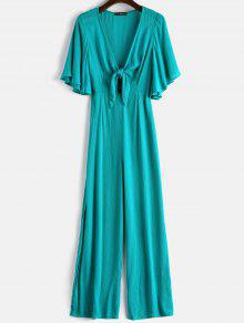 ZAFUL Tie Front Slit Wide Leg Jumpsuit - متوسطة الفيروز S