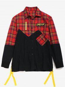 ZAFUL منقوشة Patchwok رسالة مقلم قميص - كستنائي أحمر S